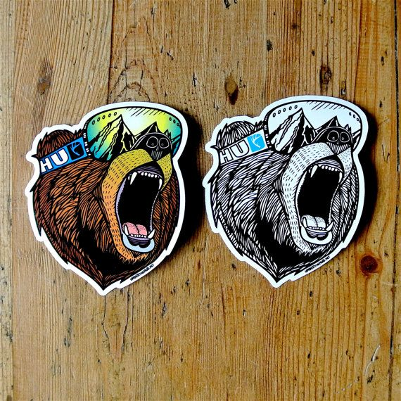 Bear vinyl sticker pack snowboard sticker adventure by underthehud