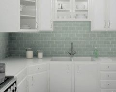 3x6 Gl Subway Tiles Daltile Whisper Green White Cabinets