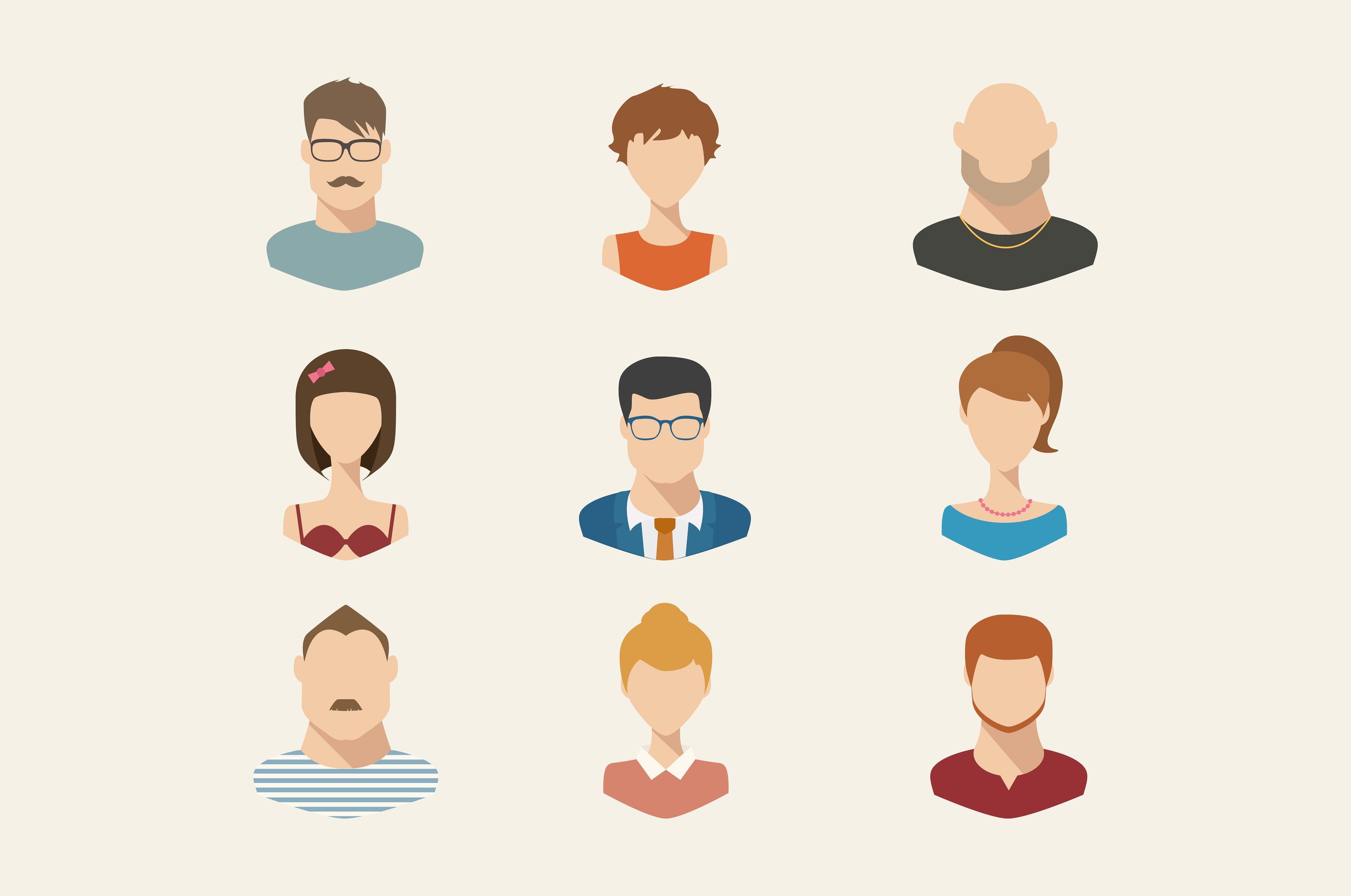 People icons, people avatars, flat peopleavatarsPeople