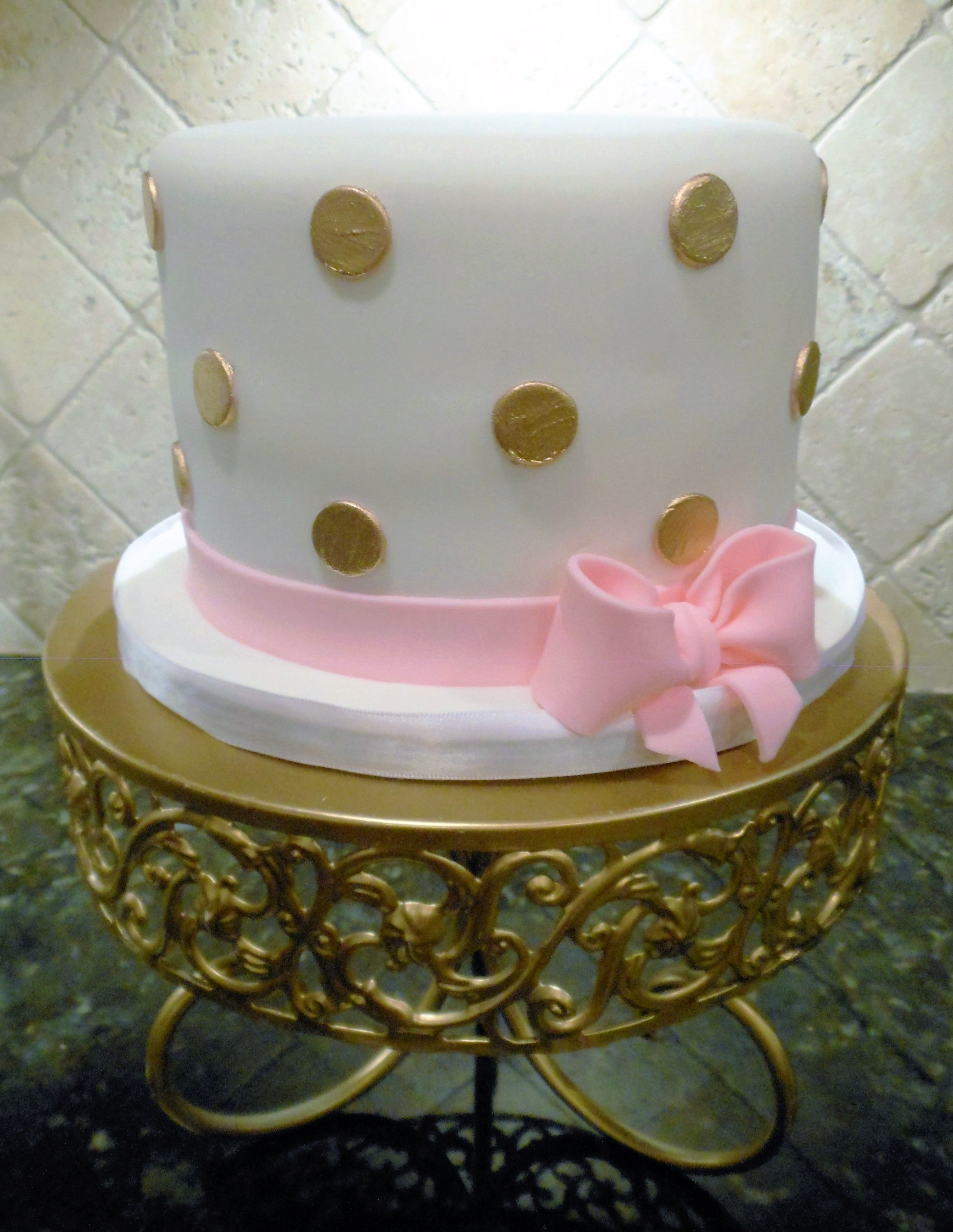 Outstanding Gold Polka Dot And Pink Bow Cake Pink Birthday Cakes Polka Dot Funny Birthday Cards Online Fluifree Goldxyz