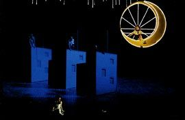 Images showing the design and realised set for Le Grande Macabre for the Komische Oper, Berlin, by Peter Corrigan.