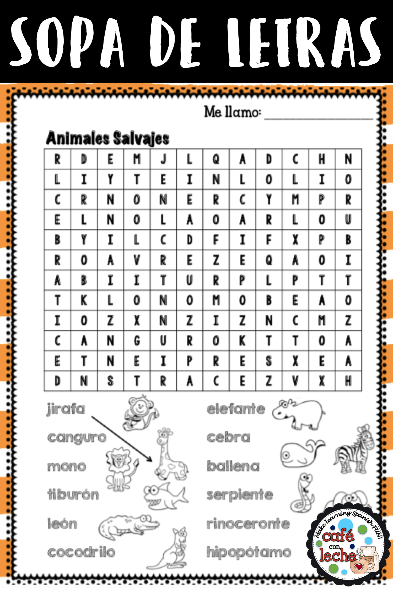 Sopa De Letras De Animales Salvajes Wild Animals Spanish Word Search Phonics Centers Elementary Spanish Vocabulary Words