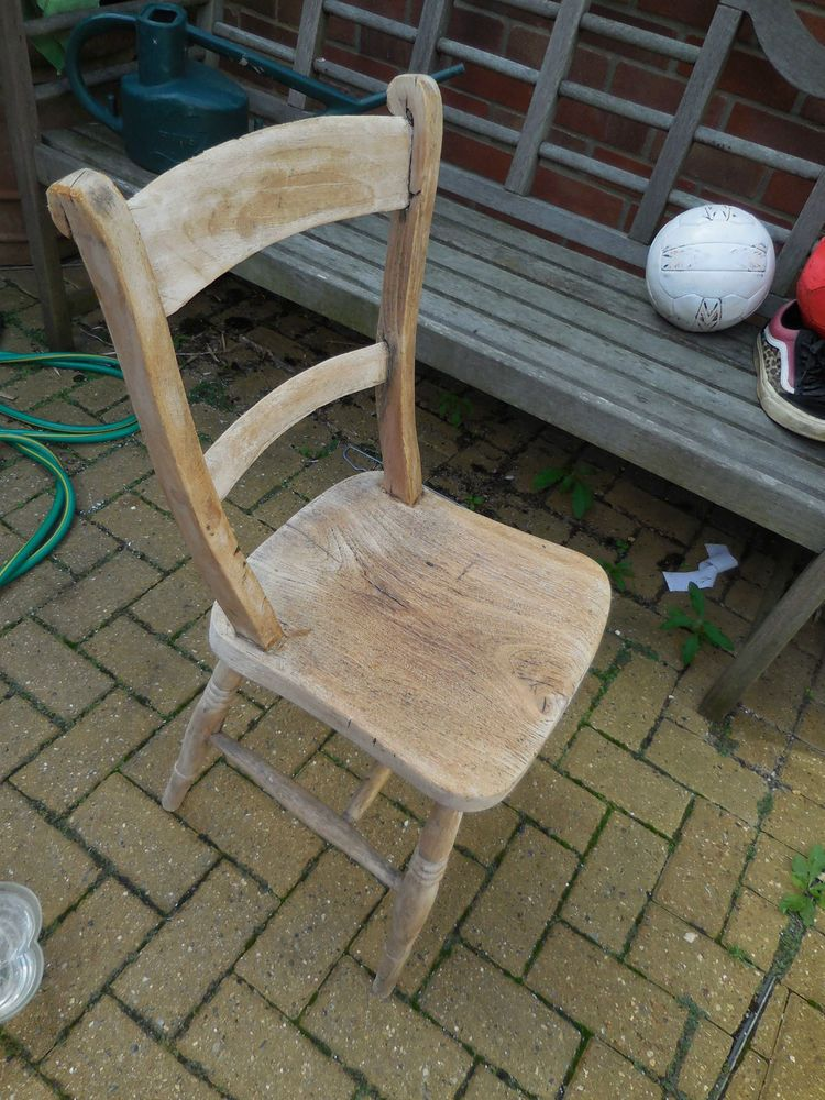 Vintage wooden chair stripped wood old style Solid wood