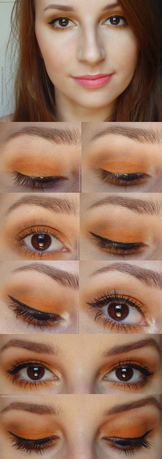 Best Eyeshadow Tutorials Orange Eye Makeup Easy Step By Step