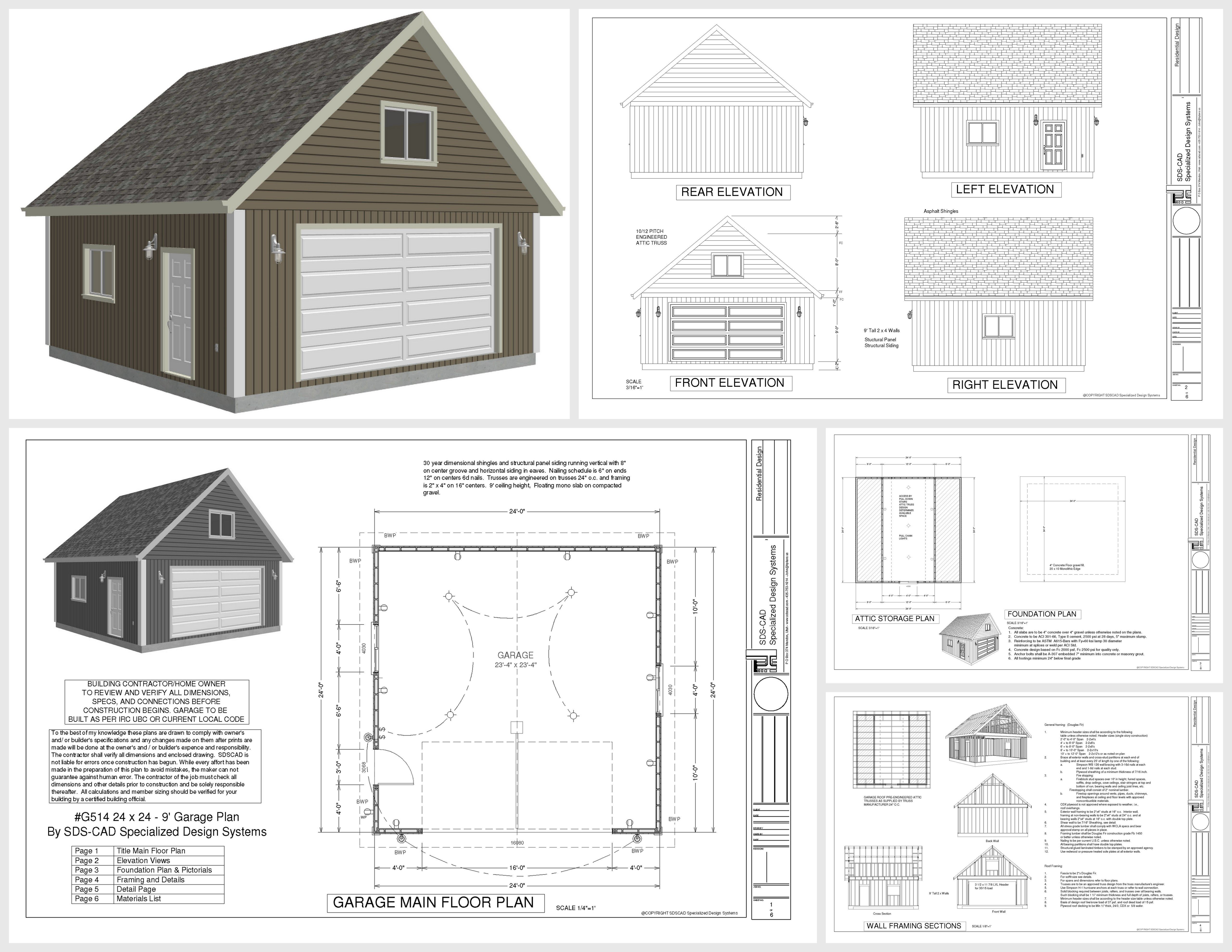 G514 24 x 24 x 9 loft garage plans in pdf and dwg shops for Garage plans with loft