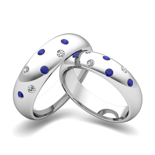 Matching Wedding Bands Scattered Diamond And Sapphire Ring In 14k Gold Myloveweddingring