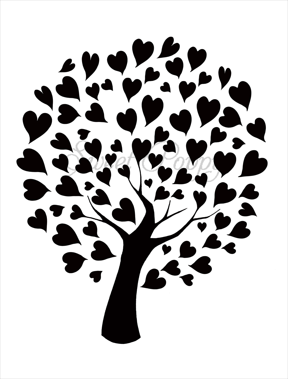 Sweet Poppy Stencil: Tree of Hearts | ลายเส้น | Pinterest ...