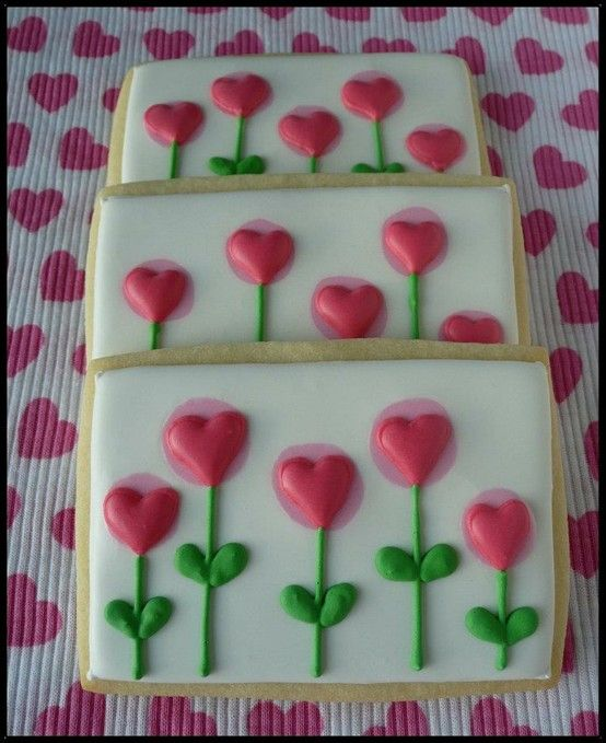 Hearts & flowers. Wafers Cookies. Good design for icing a fondant cake.