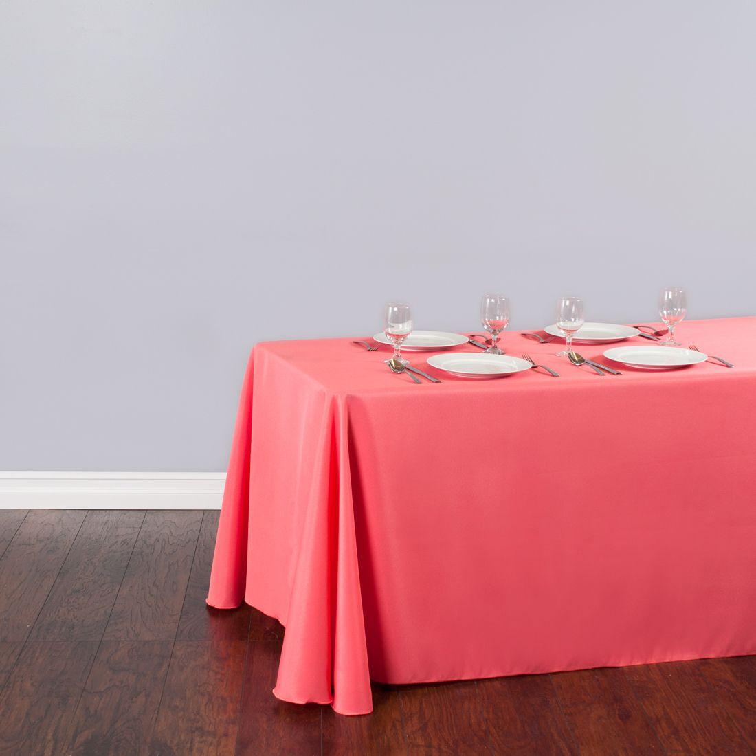 Rectangular Polyester Tablecloth Coral