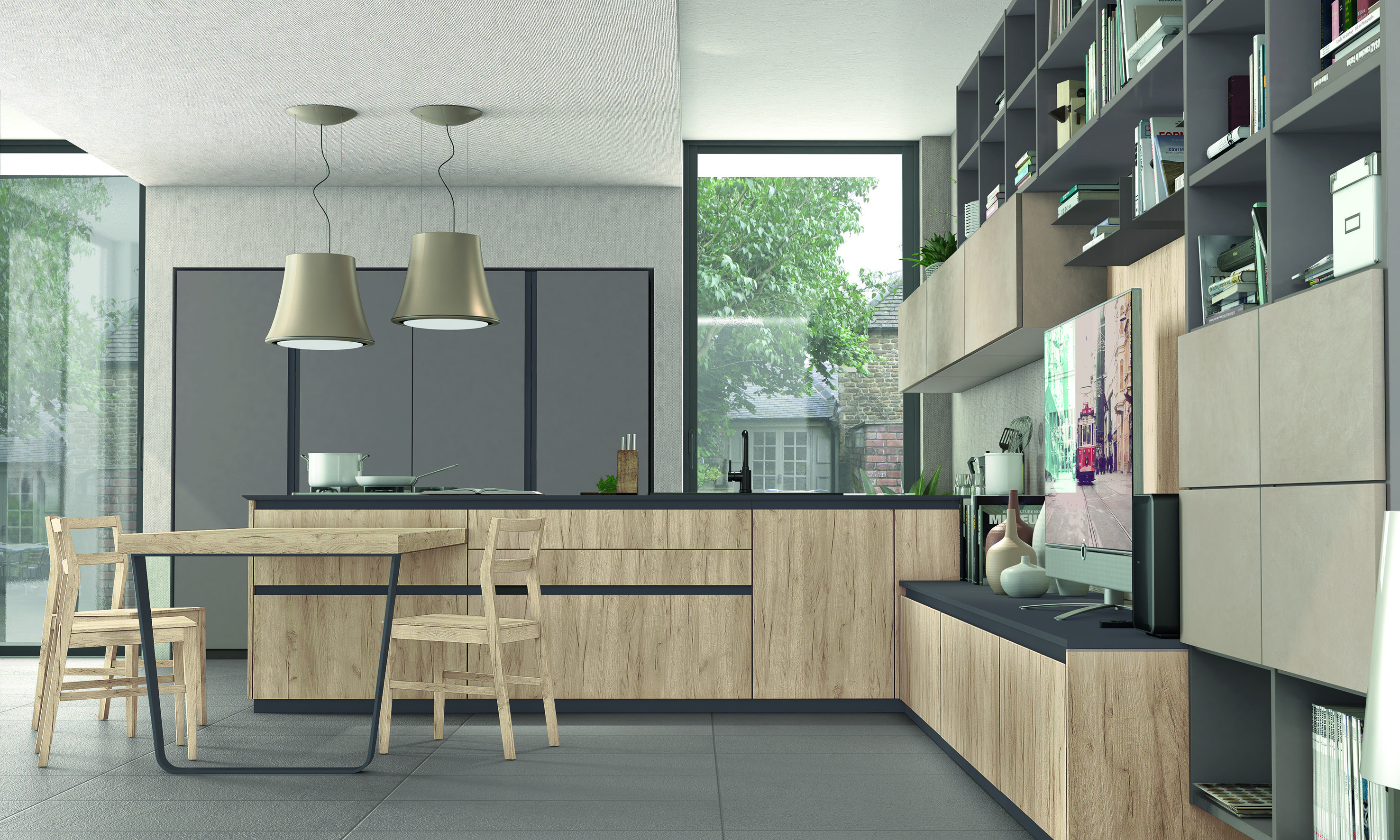 Immagina kitchen designs by Cucine Lube, integrating the living ...