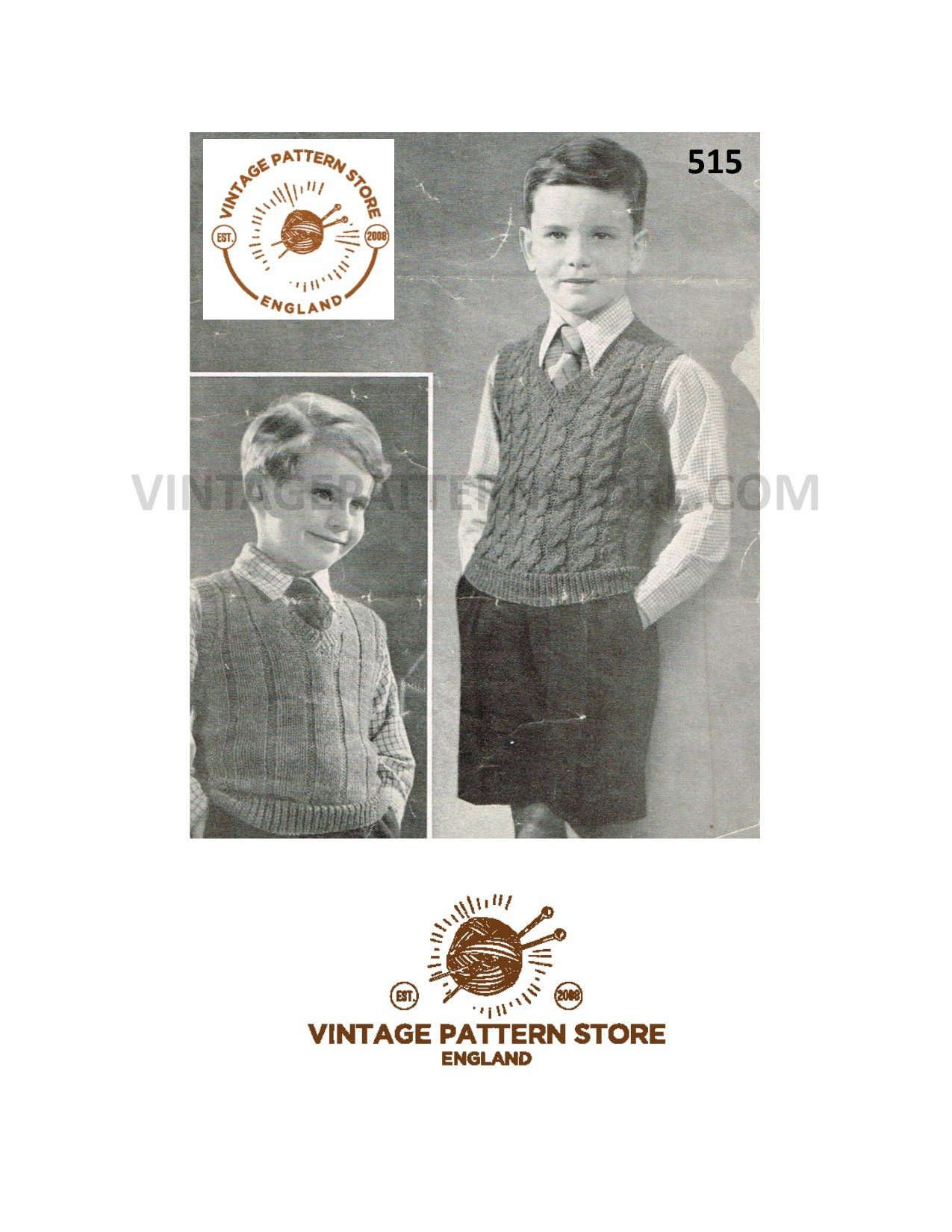 ae32746aa9a766 Knitting pattern Boys 1940s V neck sleeveless sweater vest tank top ribbed  or cabled in 4 ply 25