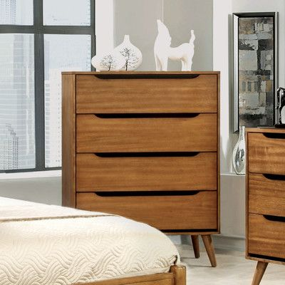 Multiple Colors Bedroom Furniture Modern 4-Drawer Wood Dresser