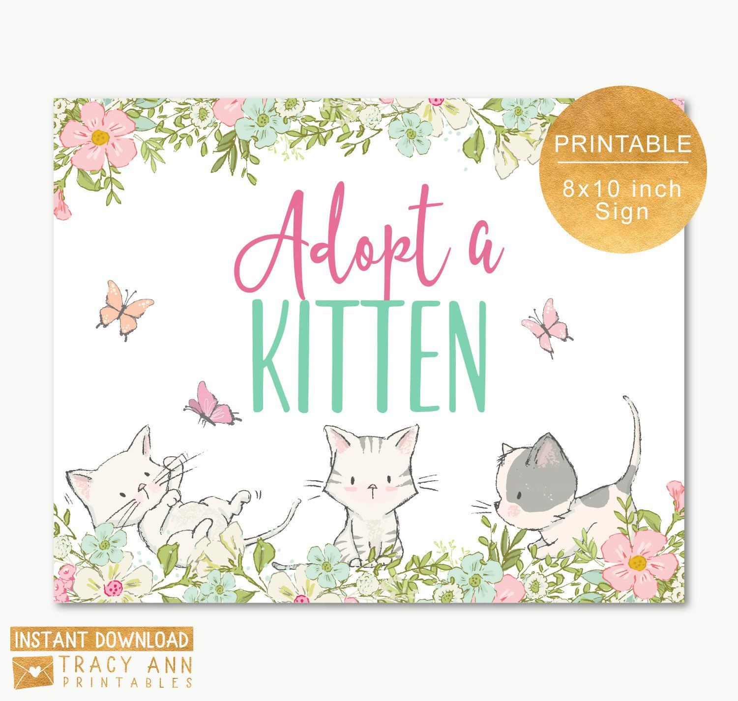 Adopt A Kitten Sign Kitty Cat Party Sign Cat Birthday Etsy Cat Birthday Party Cat Party Party Signs