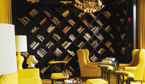 If I Ever Have A Library In My Home Want Criss Cross Bookshelf Like This One And Yellow Chairs