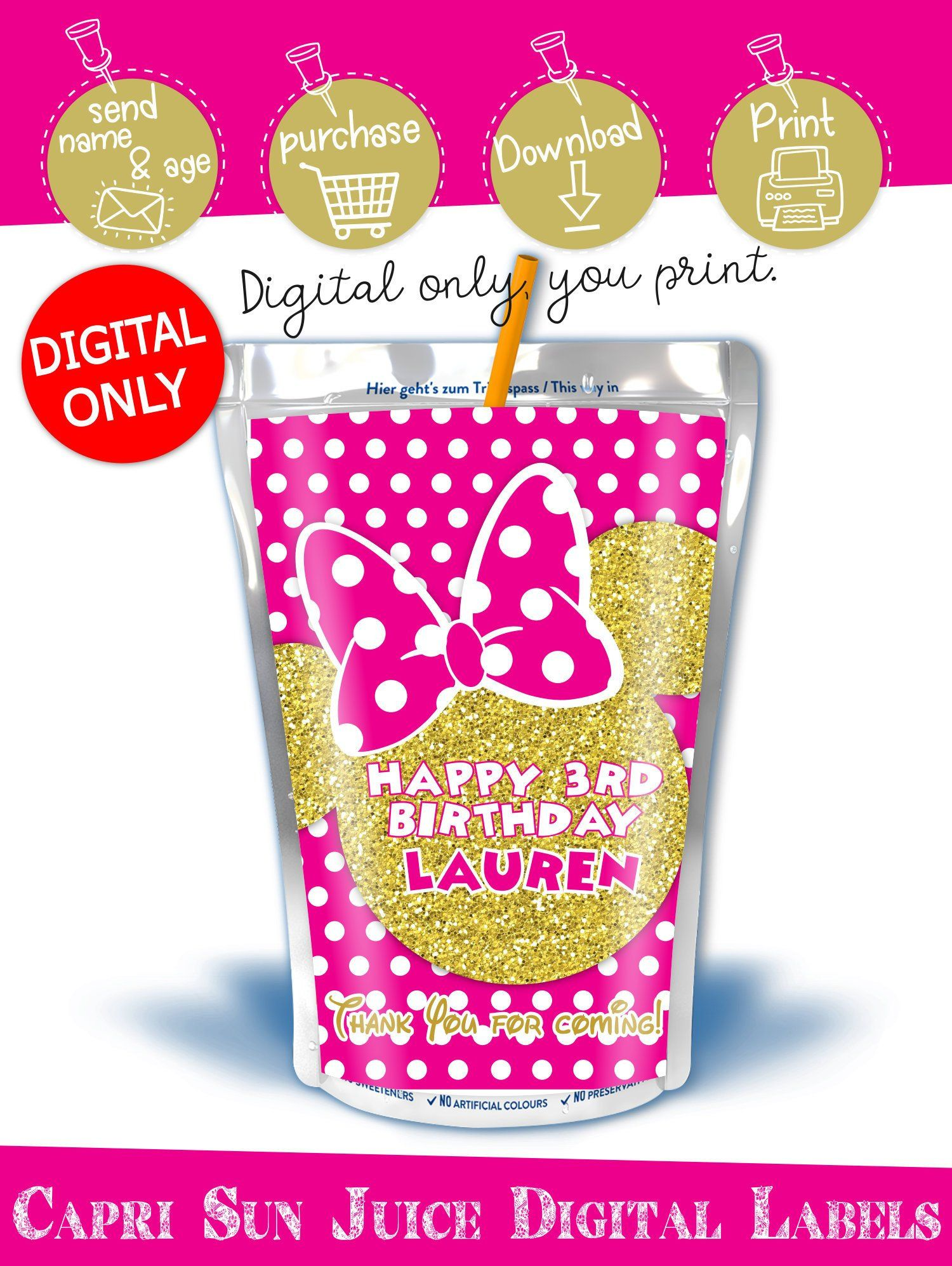 DIGITAL DOWNLOAD Minnie Mouse Hot Pink and Gold Capri Sun