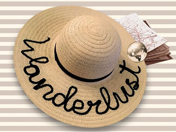 Wanderlust Beach Hat  Tan Sun Hat With Sequined Lettering