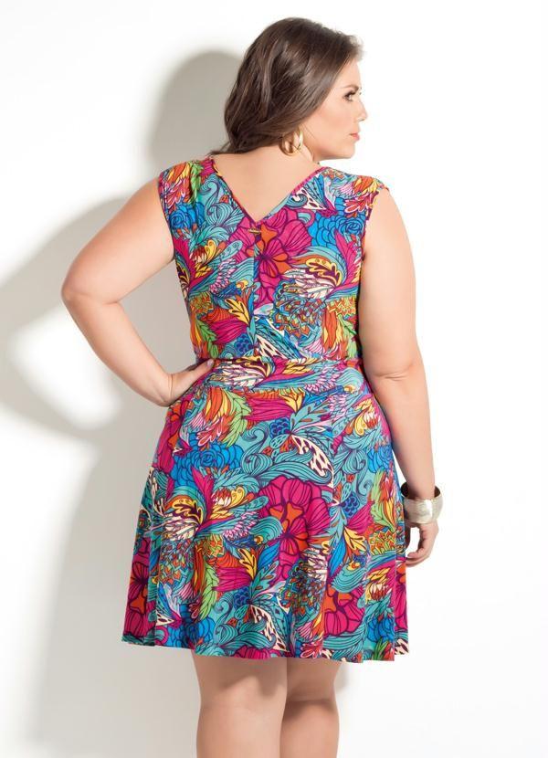 1868b3c2e Vestido Decote V Quintess Folhagens Plus Size - Quintess | vestido ...
