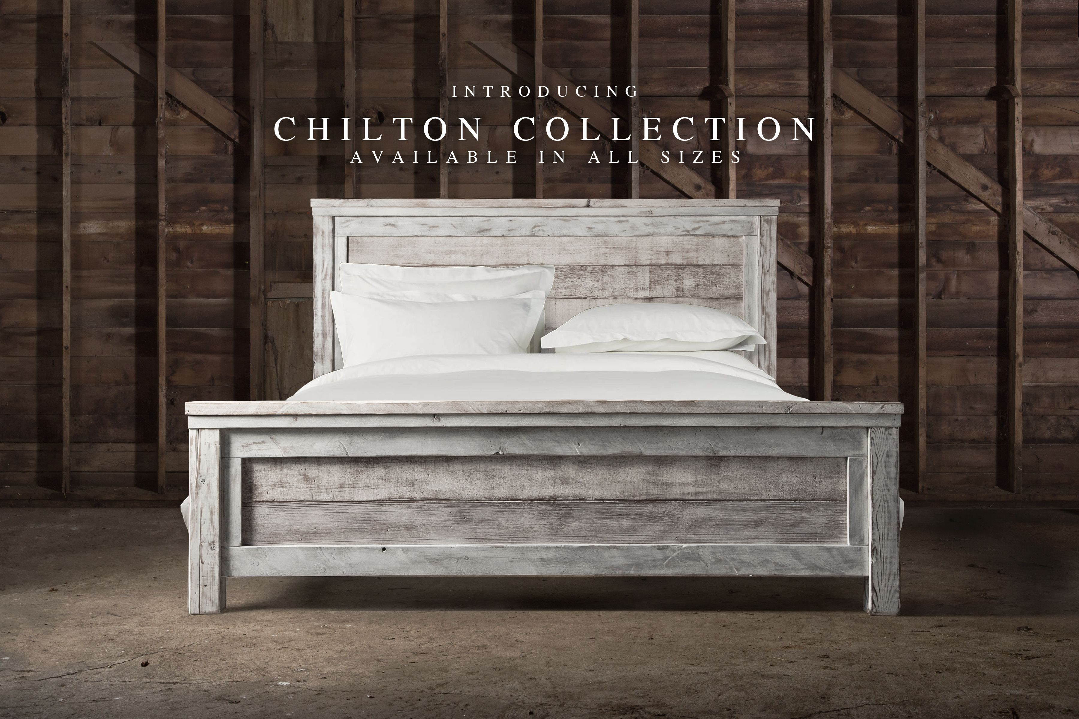 Our Reclaimed Chilton Bed This Rustic Farm Bed Is Handcrafted From Reclaimed Weathered Barn Wood The Plank Desi Farmhouse Bed Frame White Bed Frame Furniture