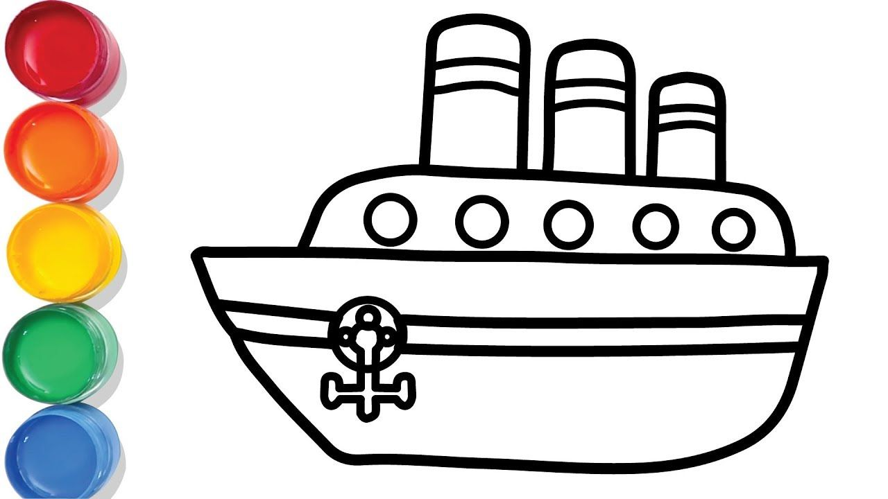 Ship Drawing Color Pages For Kids Chuchu Colors Tv With Images