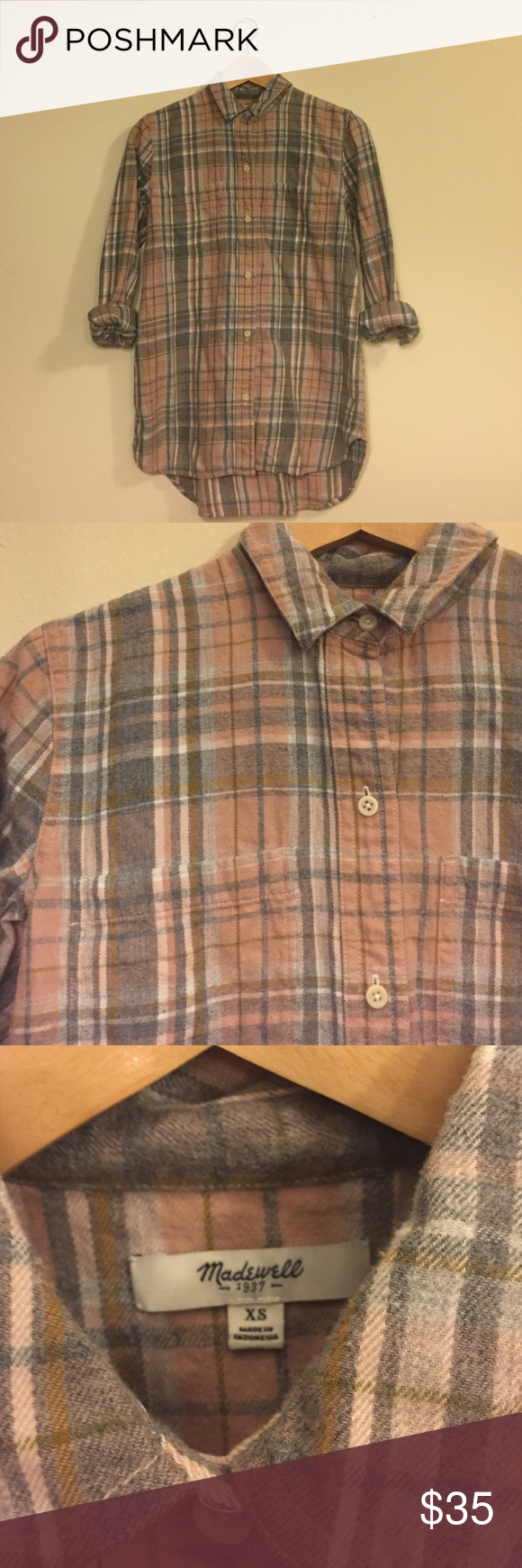 Madewell Ex-Boyfriend Shirt in Camden Plaid Worn a few times, in great condition. Mild pilling, as is common with a cozy flannel! Great blush and grey tones make the perfect understated neutral plaid! Madewell Tops Button Down Shirts