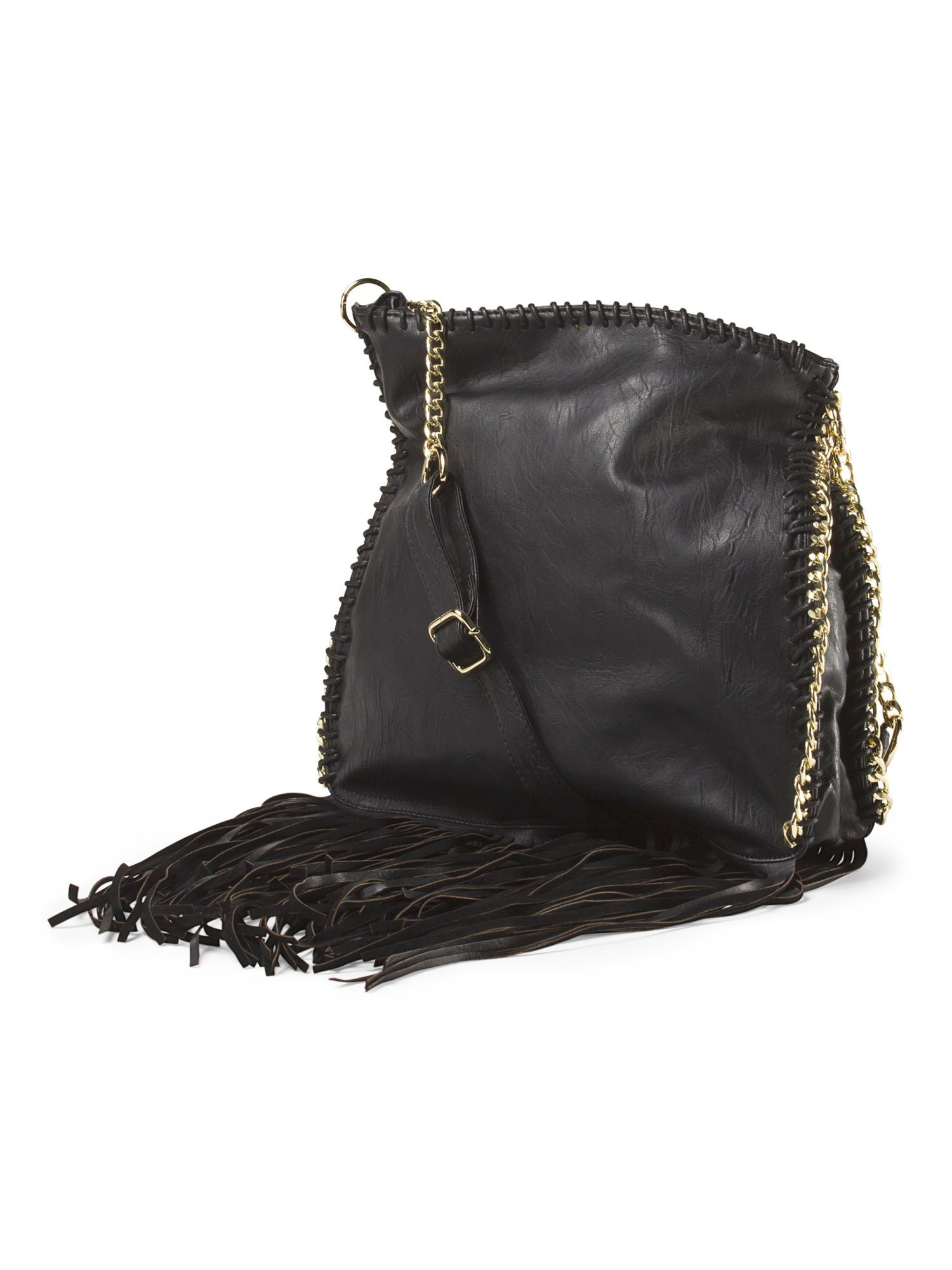 Stay on trend with this fringe cross body bag with edgy chain details.