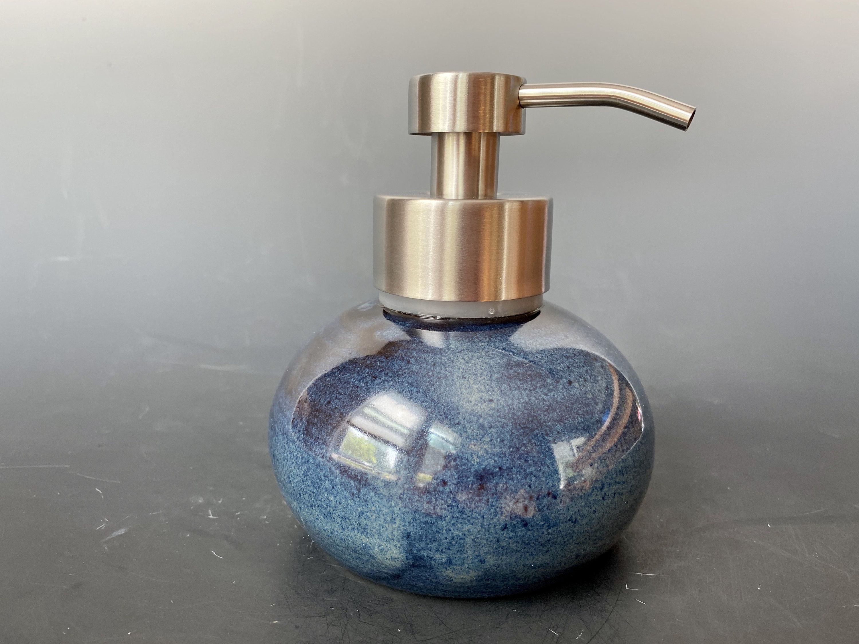 Dark Blue Ceramic OilSoap Dispenser wheel thrown