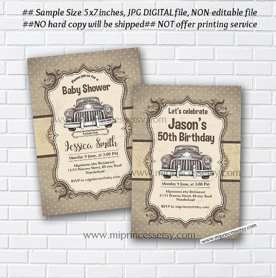 Vintage car birthday invitation car baby shower car party car car baby shower invitation vintage car birthday invitation vintage vehicle retro invitation stopboris Choice Image