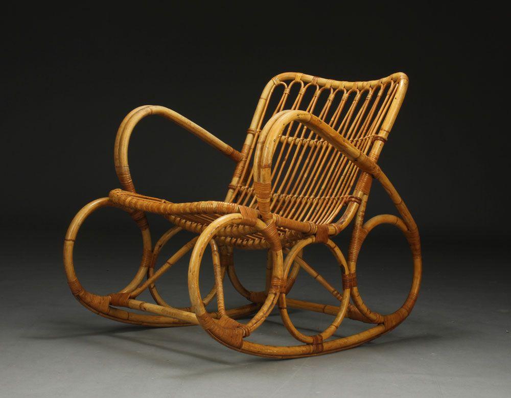 Danish BambooCane rocking chair from 1950