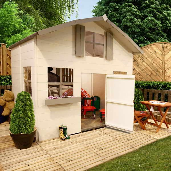 Outdoor castle playhouse with wood table outside kids for Kids outdoor playhouse