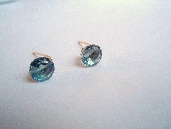 Minimalist GEMSTONE mystic London blue Topaz stud by idooidoo, $22.00