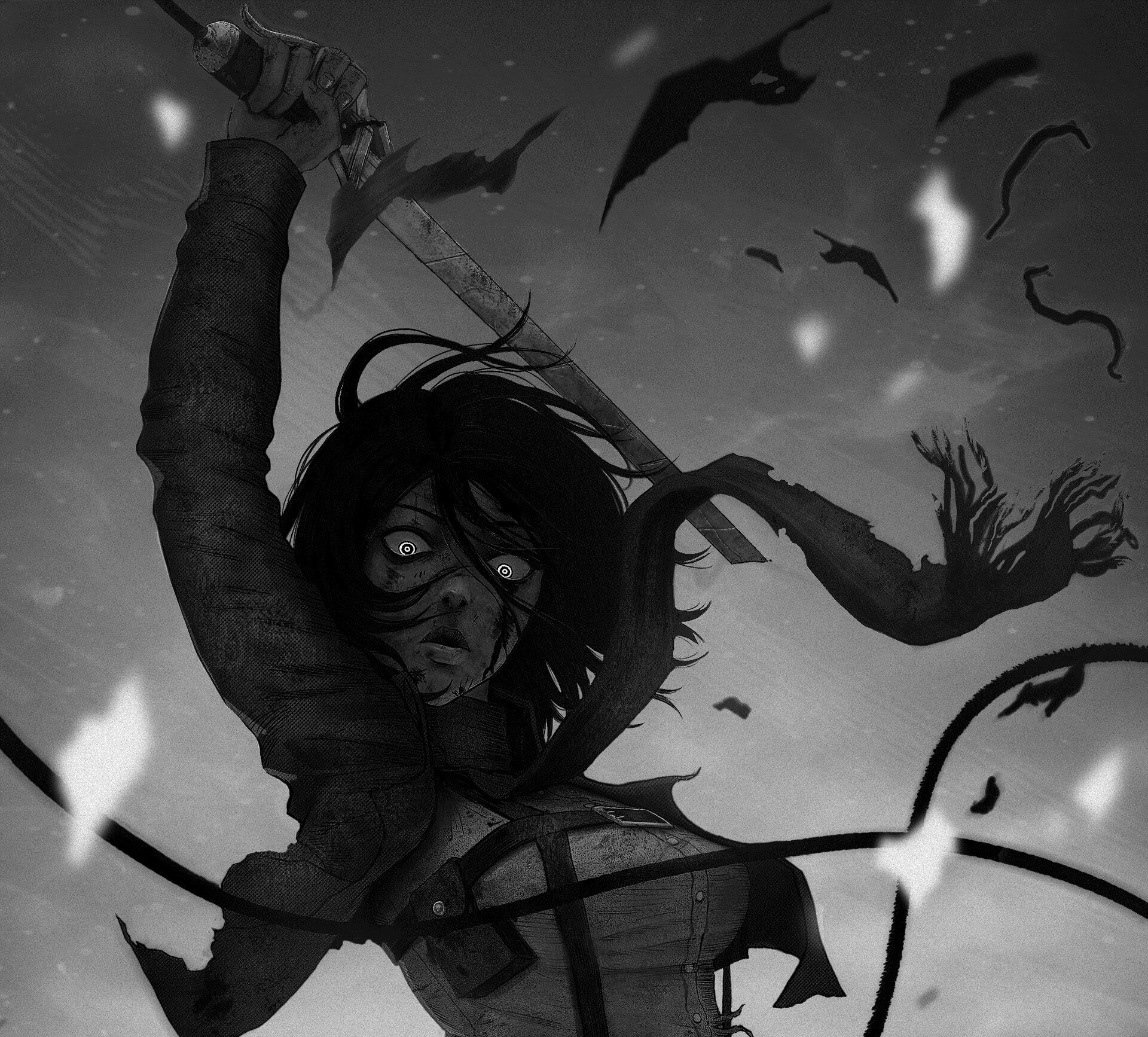 Anime Attack On Titan Mikasa Ackerman Hd Wallpaper Dark Attack On Titan Fanart Attack On Titan Anime Attack On Titan Eren