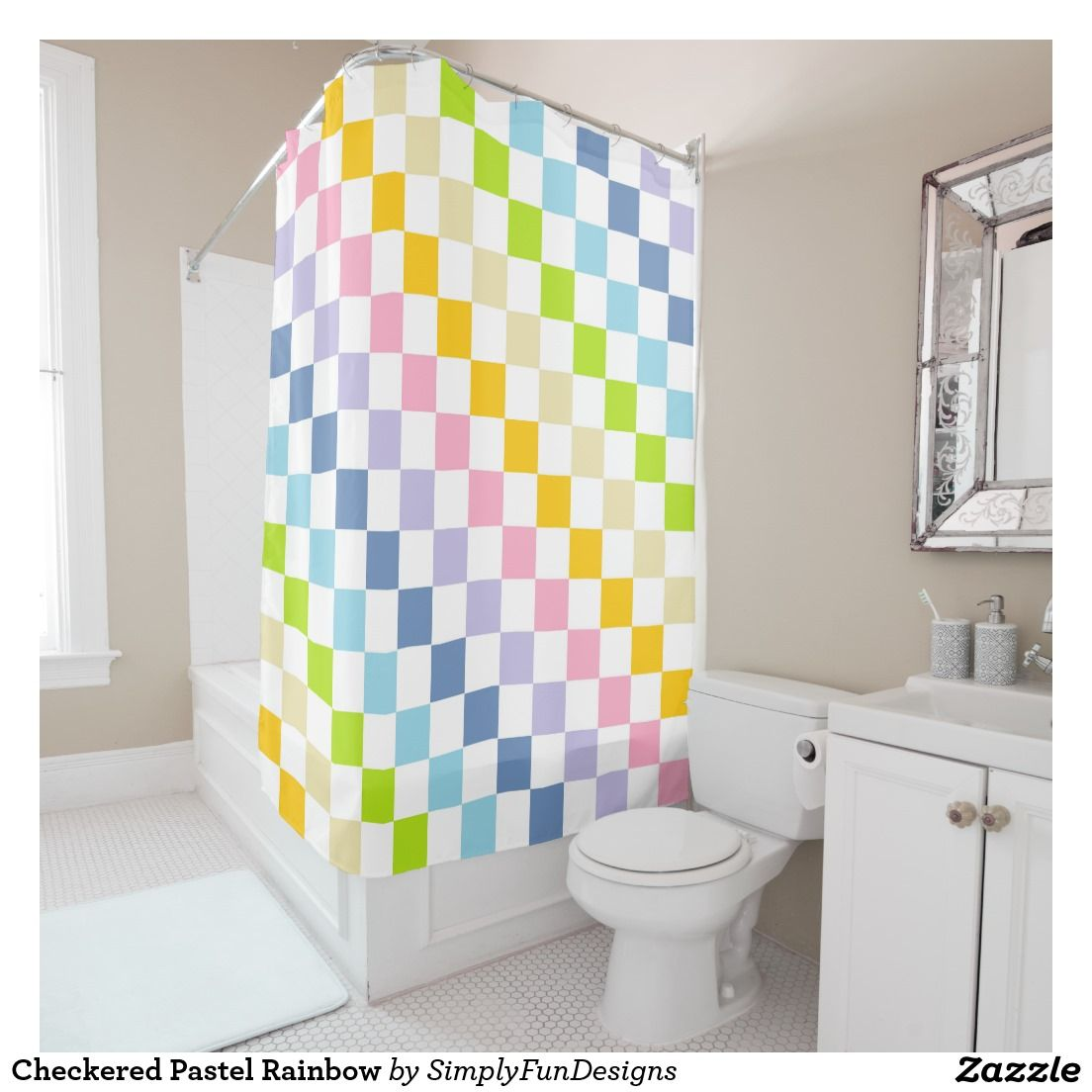 Checkered Pastel Rainbow Shower Curtain Purple Shower Curtain