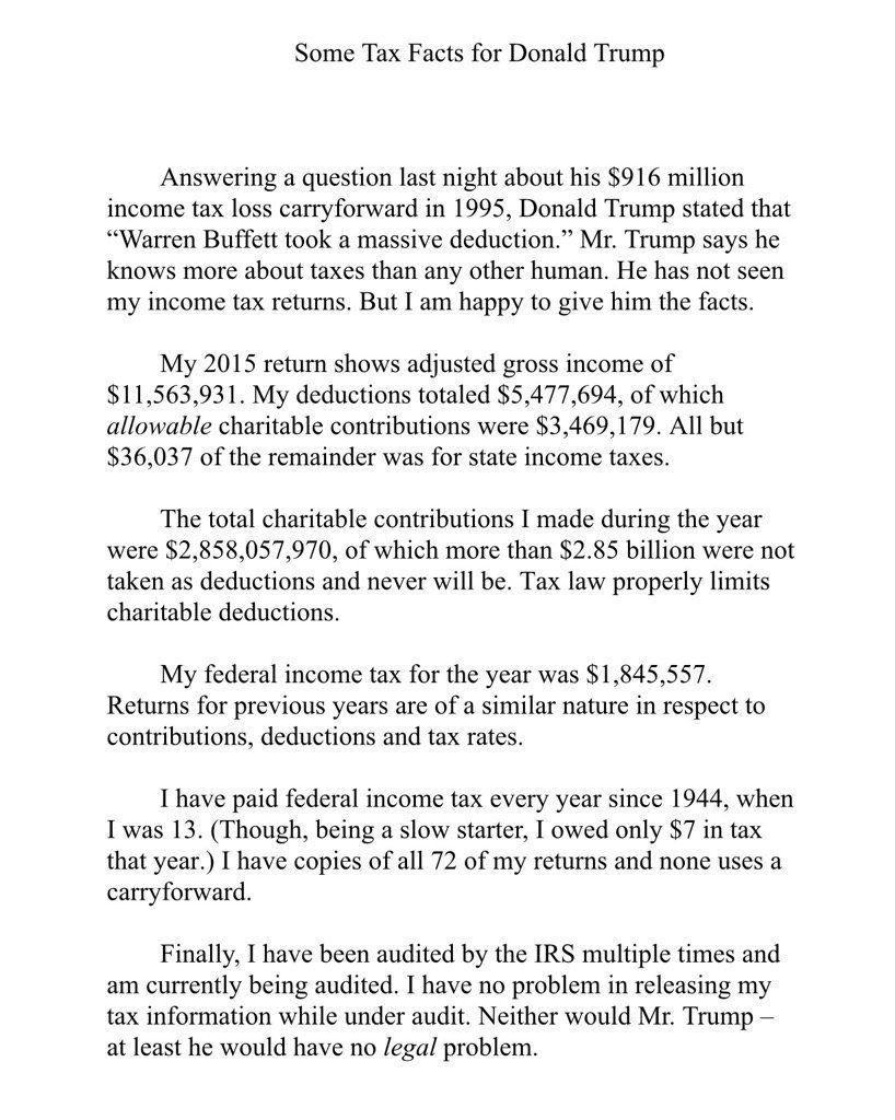 Daniel Dale Ddale8 Twitter Warren Buffett Income Tax Return Facts