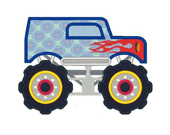 Mud Truck Machine Embroidery Design Monster Truck Applique Designs