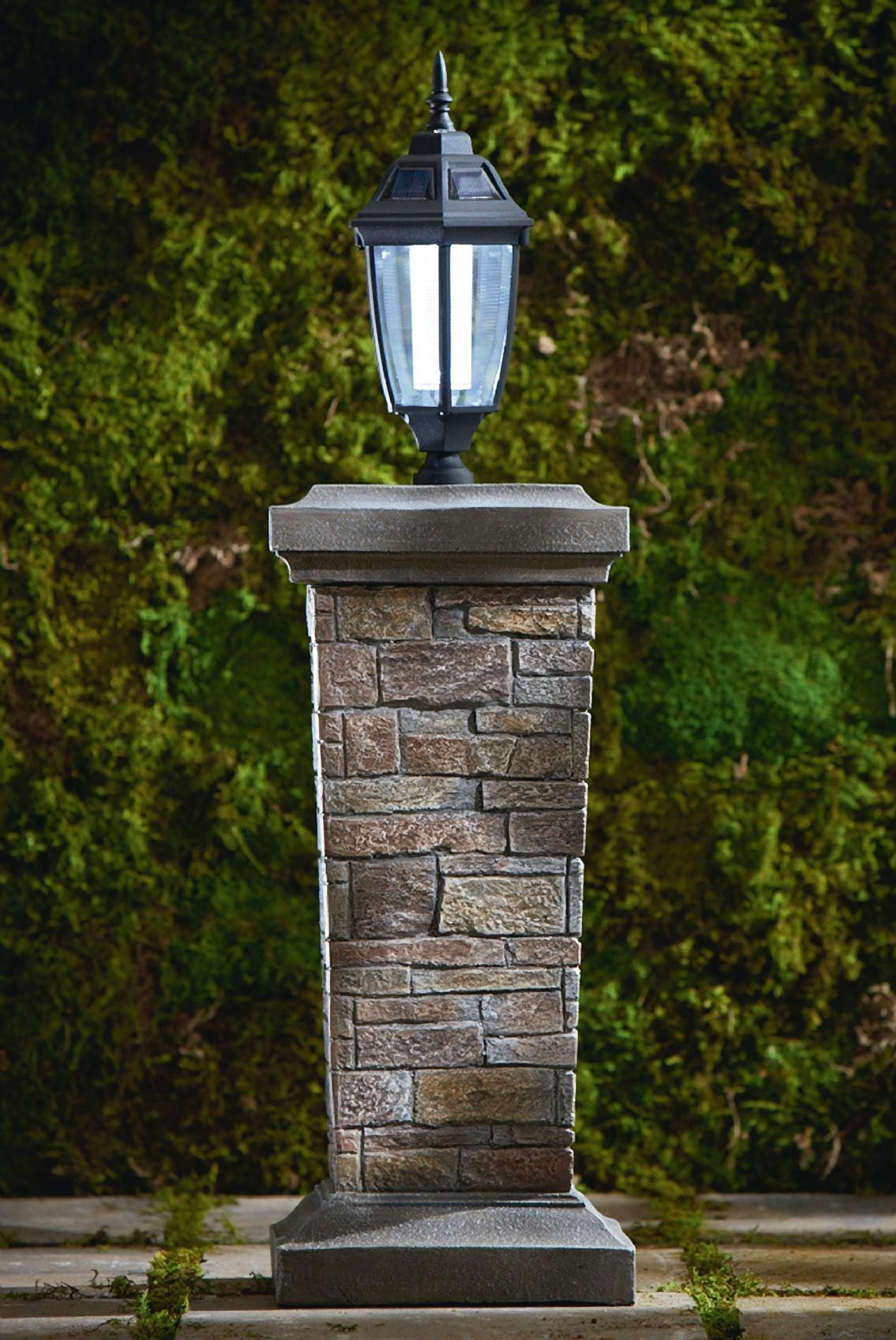 Pedestal With Solar Lantern Impressive Outdoor Light From Sears