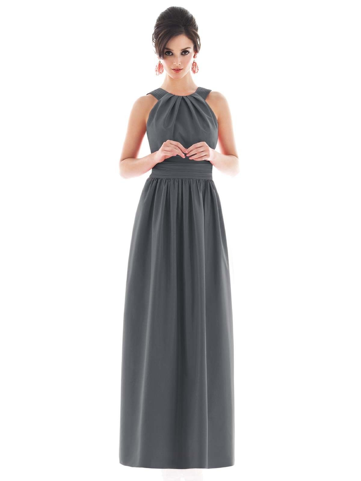 Peau De Soie Halter Pleated Bodice Formal Long Dress   A&M ...