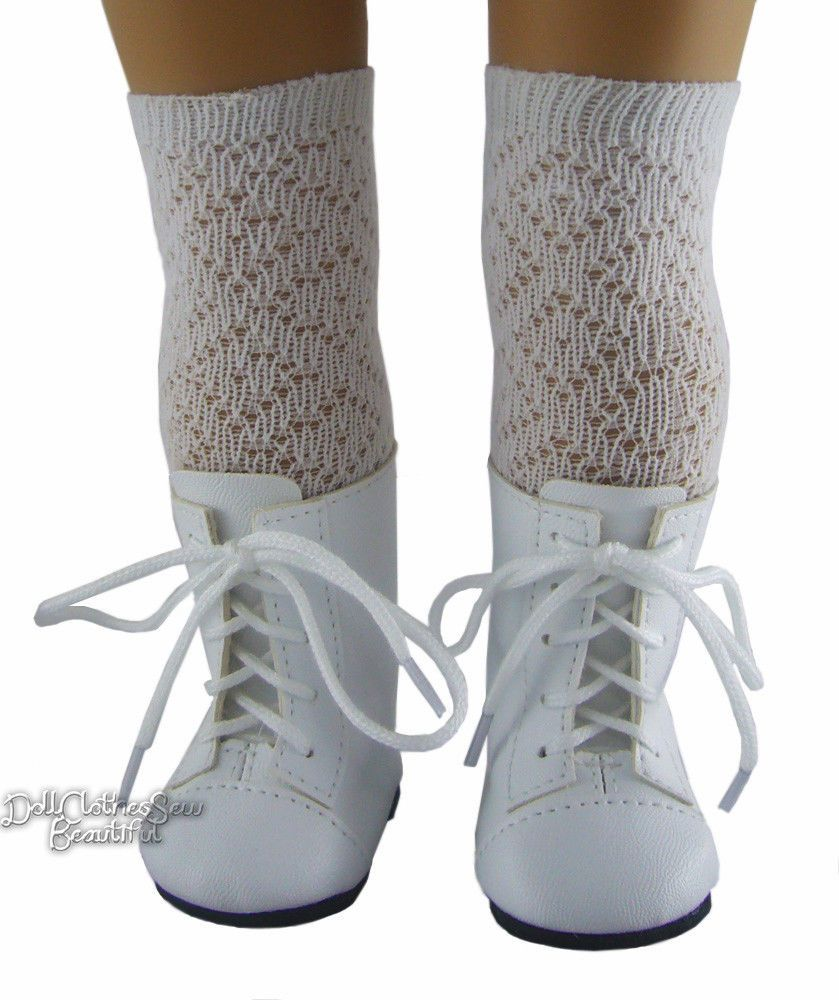 "Victorian Era White 1800 Boots Shoes for 18"" American Girl Dolls Moniques Brand 