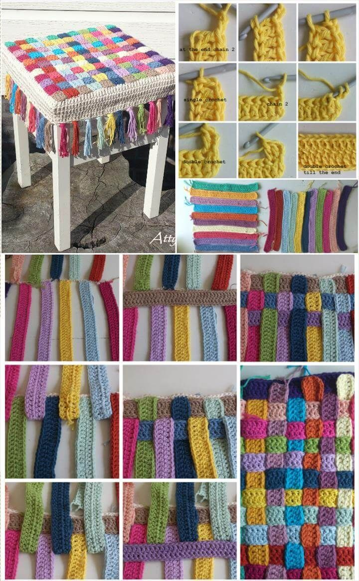 Photo of Easy Crochet Rainbow Stool Cover Pattern #cover #diycrafts …