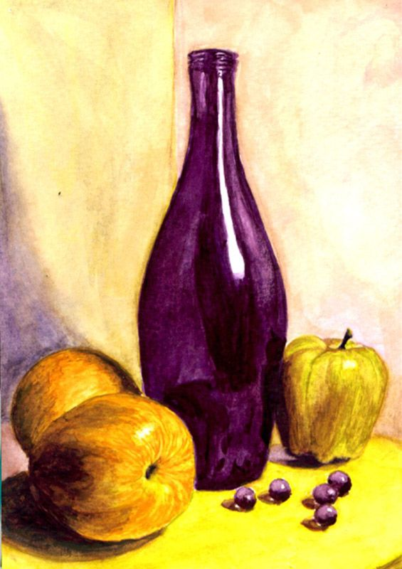 Split Complementary Colors By Bev Larson This Is Just A Simple Purple Glass And Beads Juxtaposed With What Seem To Be Yellow Apples