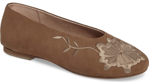 a4ffae4e467721 Seychelles Campfire Embroidered Flat in Brown. Elegant floral embroidery in  autumnal hues colors the rounded toe of a well-cushioned ballet flat shaped  with ...