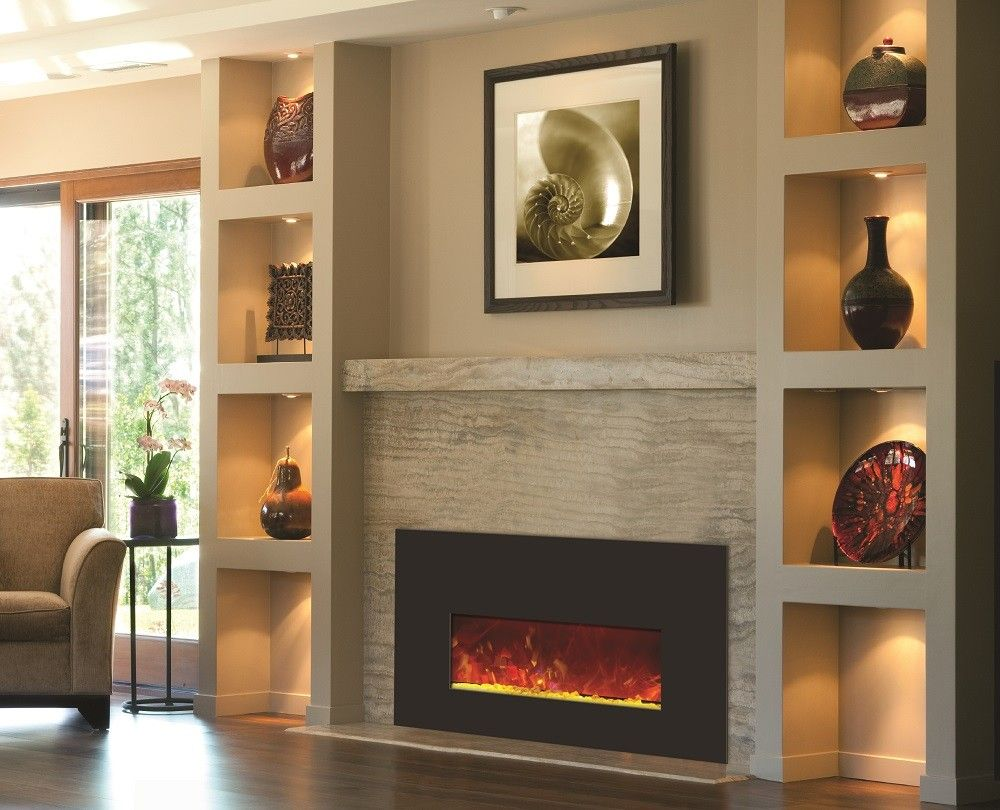 built in wall mount fireplaces with mantle design beside