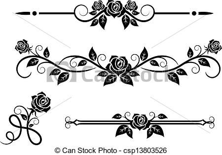 Vector Rose Flowers With Vintage Elements Stock Illustration Royalty Free Illustrations Stock Clip Art Rose Stencil Clip Art Borders Best Friend Tattoos