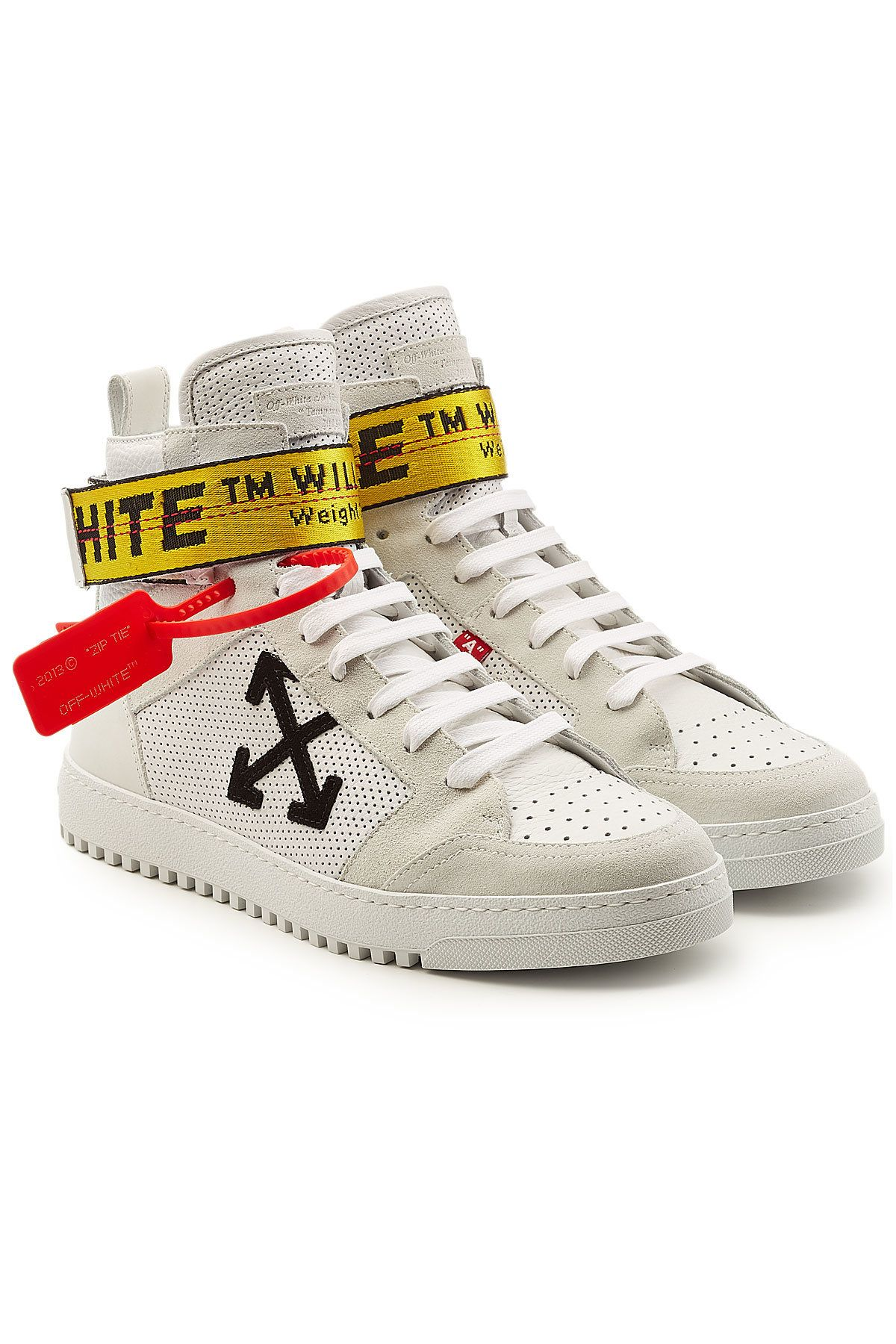 OFF-WHITE LEATHER HIGH-TOP SNEAKERS WITH SUEDE. #off-white #