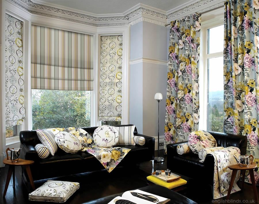 Luxury floral curtains with striped and clock patterned roman blinds interiorplanninganddesigntips also rh pinterest