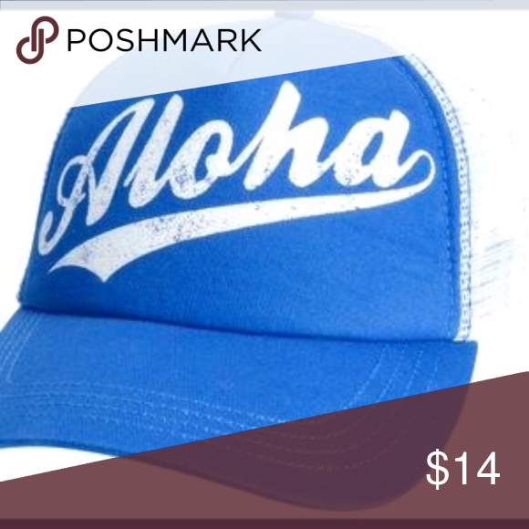 d77fcd9ea69ca1 NWT Billabong Aloha Trucker Hat Hawaii Cap Snapback baseball cap. Blue with  the word