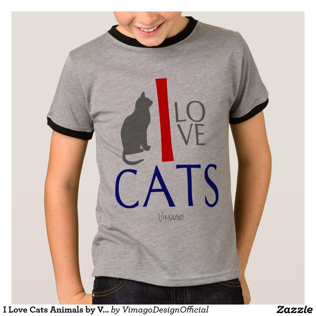 I Love Cats Animals by VIMAGO TShirt