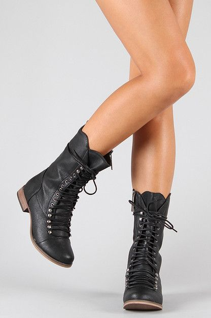 Breckelle Georgia-24 Lace Up Military Mid Calf Boot ($20-50) - Svpply
