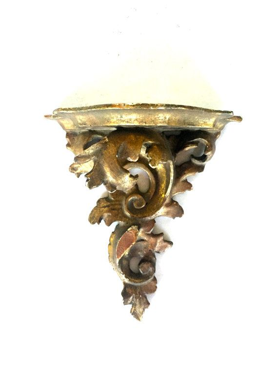 Antique Gilded Wall Sconce Shelf By Vintagewall On Etsy Wall