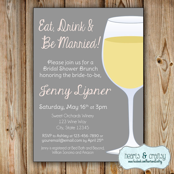 Wine Bridal Shower Invitation   Eat Drink And Be Married   Bridal Shower  Brunch   Winery Bridal Shower Invite   Eat Drink And Get Married