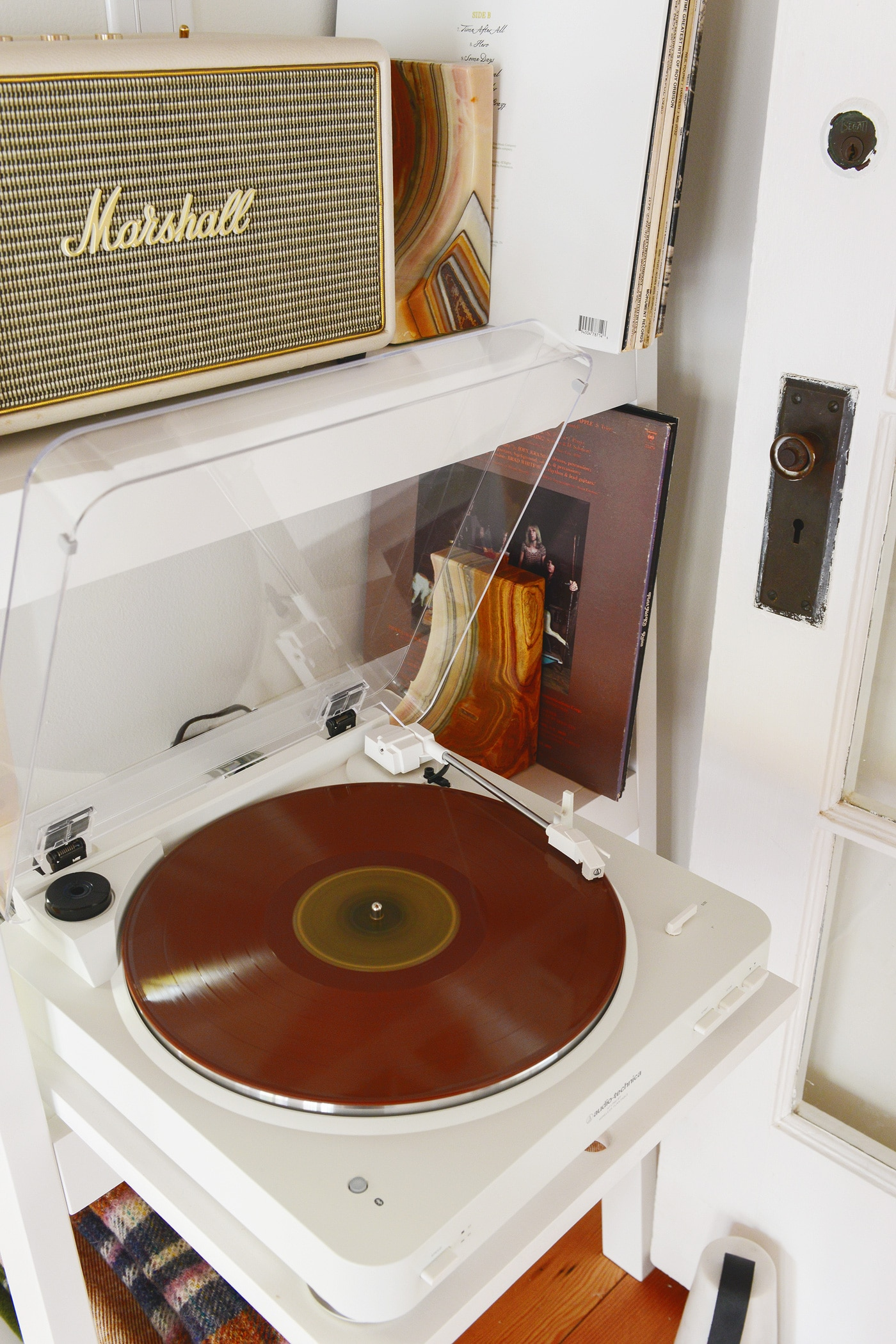 A Compact Bookcase for a Tree House Turntable - Yellow Brick Home